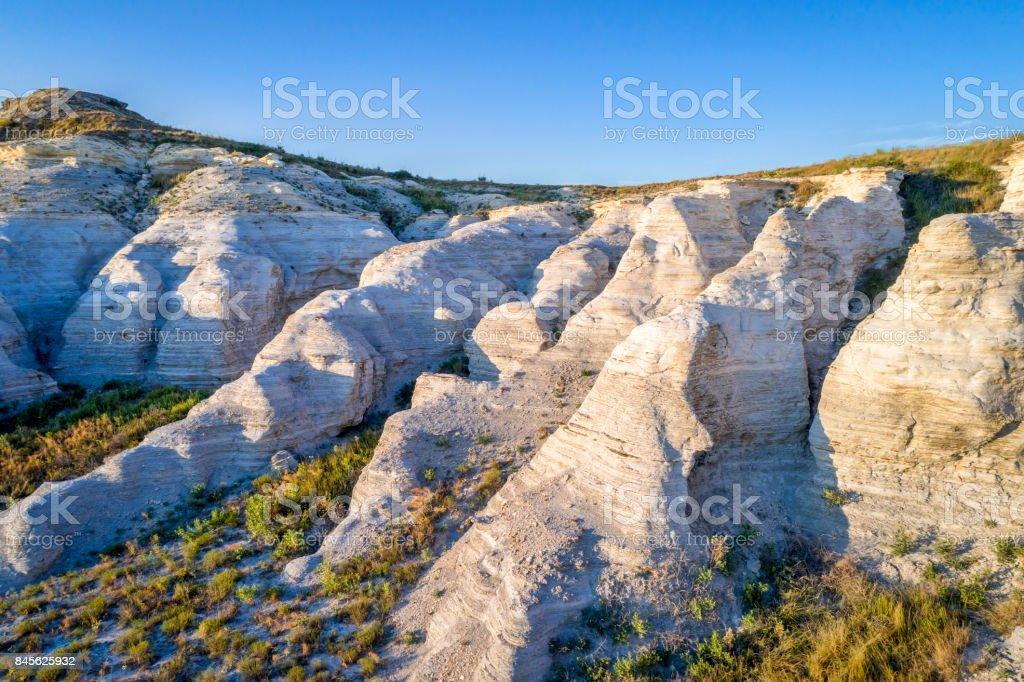 Castle Rock in Kansas prairie - aerial view stock photo