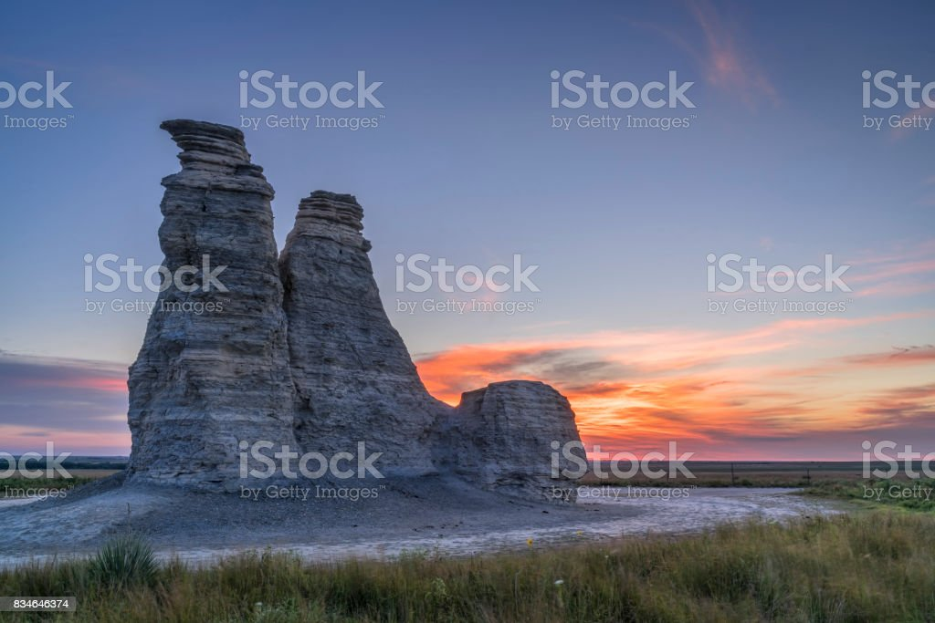 Castle Rock in Kansas prairie stock photo
