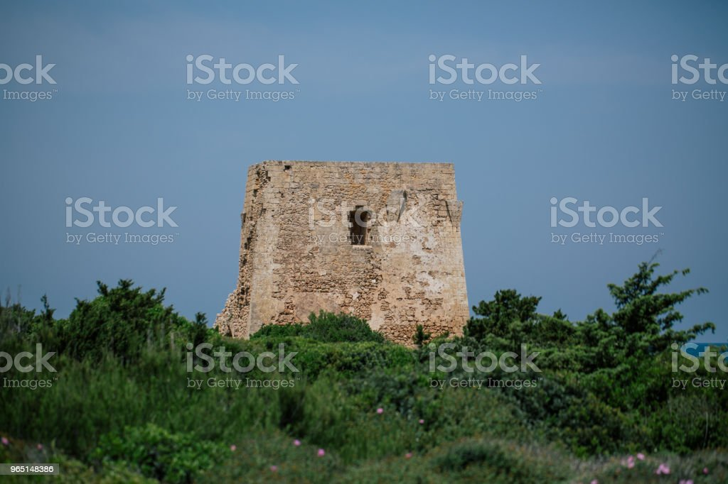 Castle rock tower Adriatic sea Italia blue coast apulia royalty-free stock photo