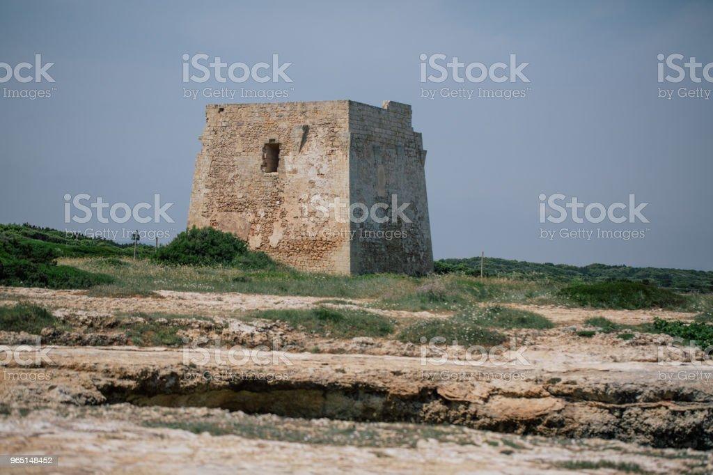 Castle rock tower Adriatic sea Italia blue coast apulia zbiór zdjęć royalty-free