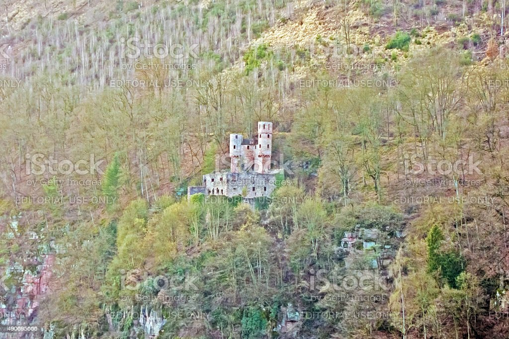 castle ruin named Burg Schadeck stock photo