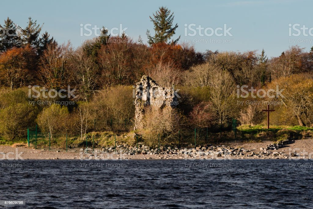 Castle Ruins by Lake stock photo