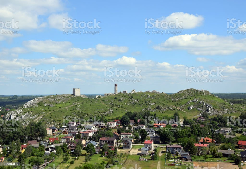 Castle ruins in Olsztyn near Czestochowa, Poland. stock photo