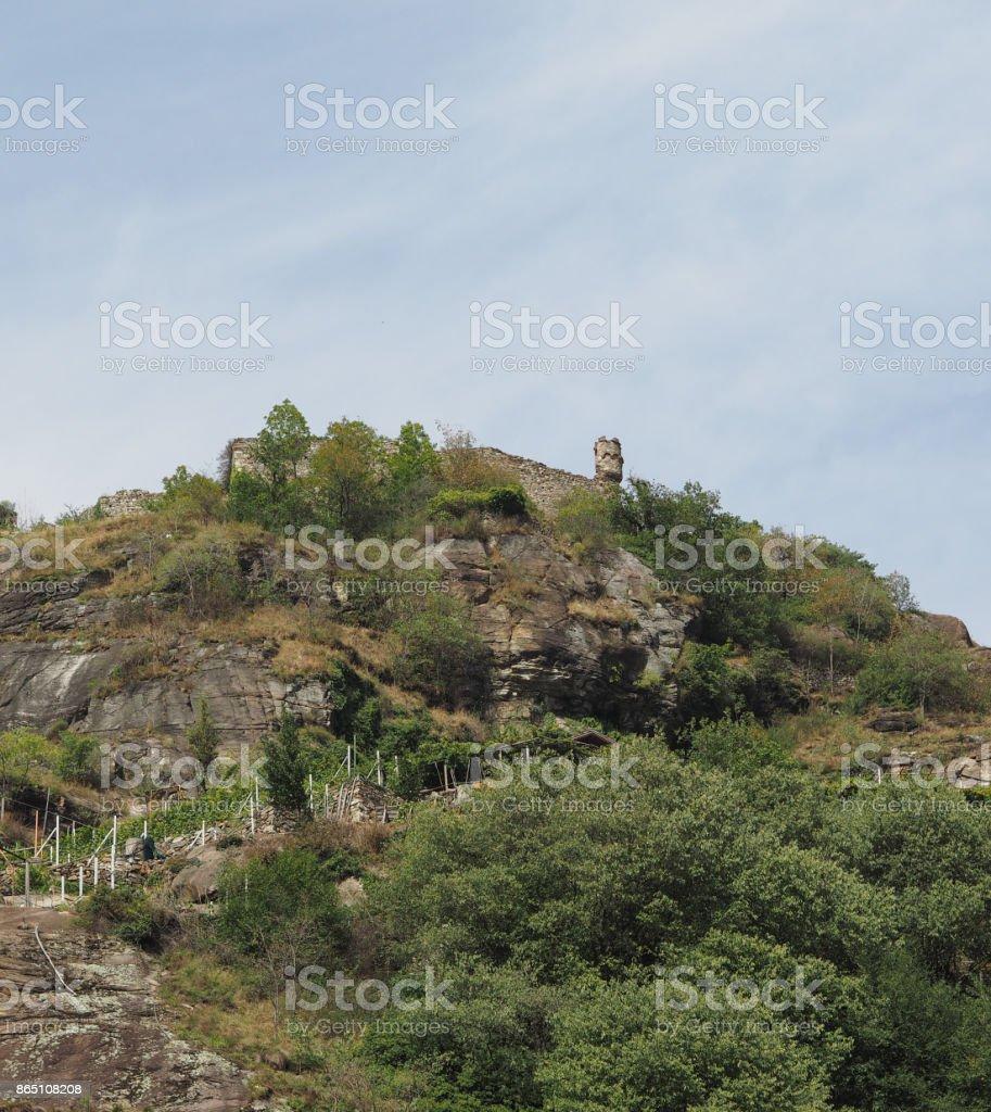 Castle ruins in Pont Saint Martin stock photo