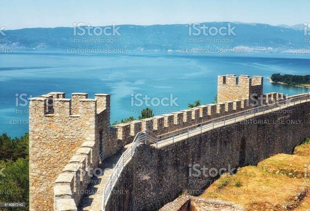 Castle Samuil And Lake Ohrid, Republic Of Macedonia - stock photo