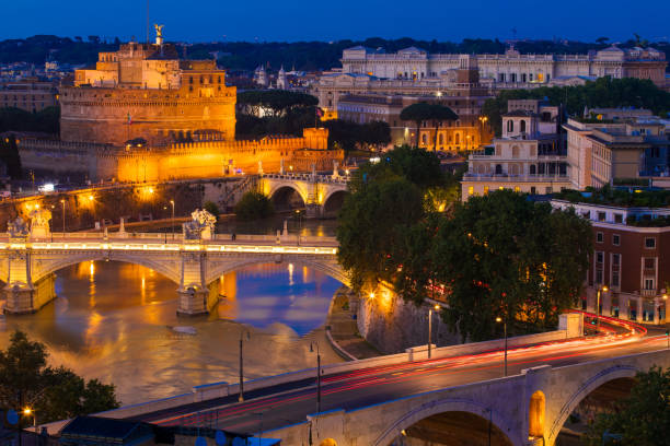 Castle Sant'Angelo in Rome, Italy by night stock photo