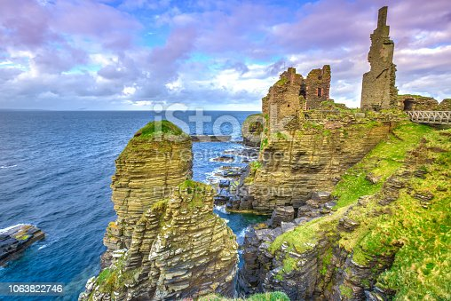 istock Castle Sinclair Girnigoe at sunset 1063822746