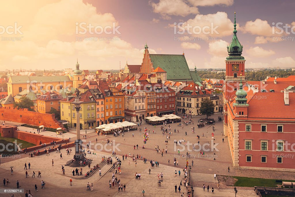 Castle square in Warsaw old town stock photo