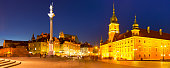 Castle Square or Plac Zamkowy in the historic center of Warsaw, Poland, photographed at night.
