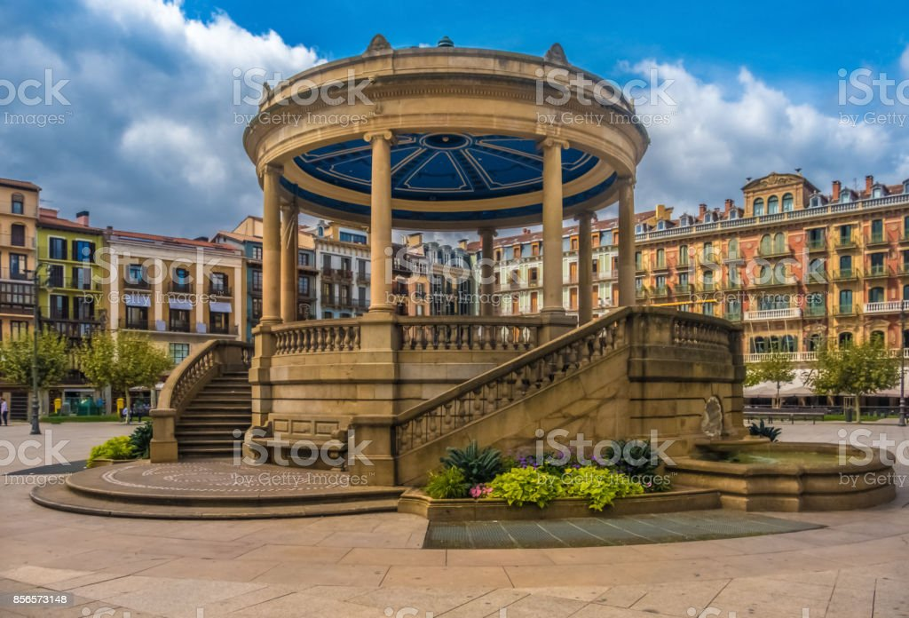 Castle Square (Plaza del Castillo) Pamplona (Iruña), the historical capitalof Navarre, Spain. stock photo