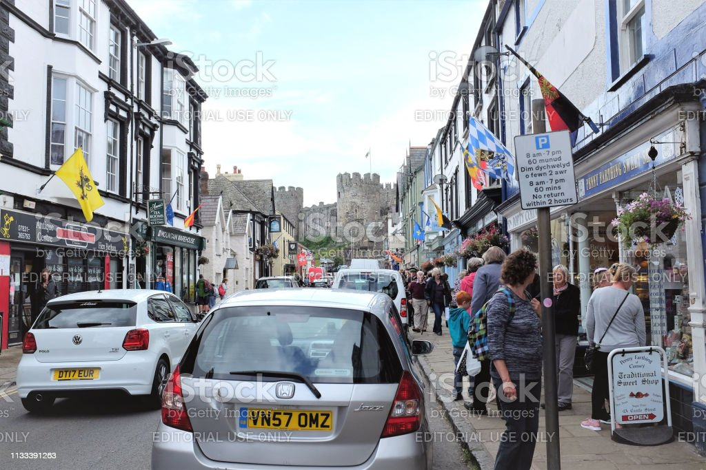 Castle street, Conway, North Wales, UK. stock photo