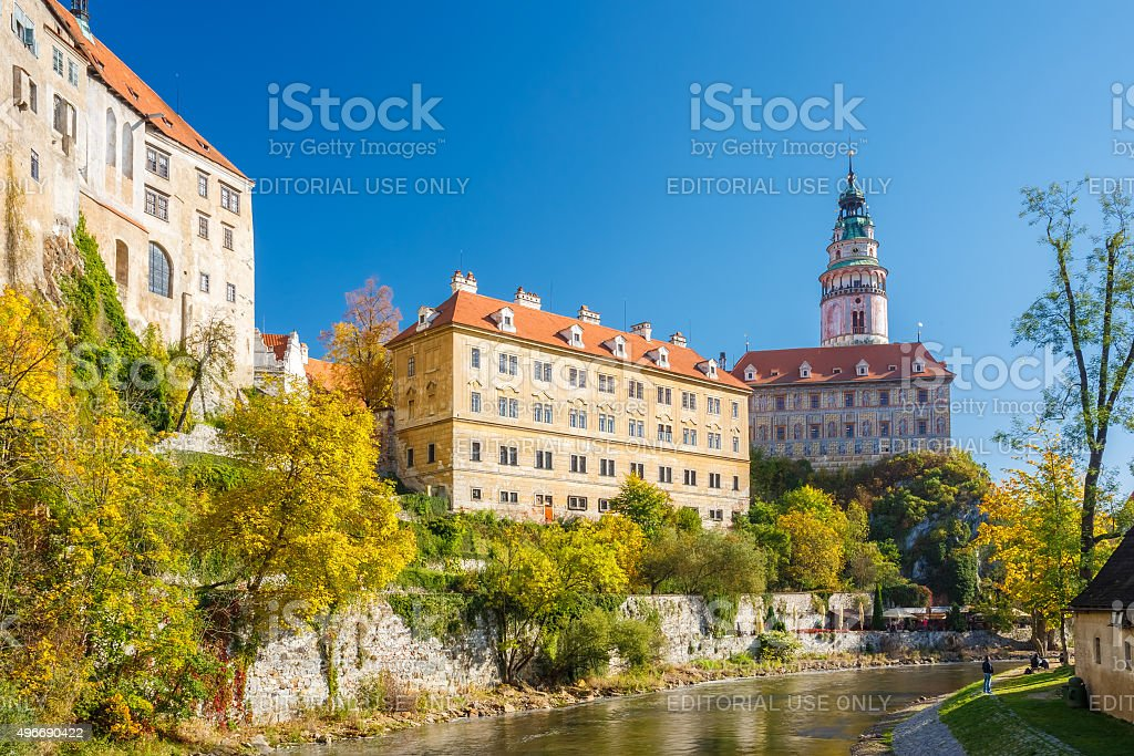 Castle tower in Cesky Krumlov, Czech republic. Sunny autumn day. stock photo