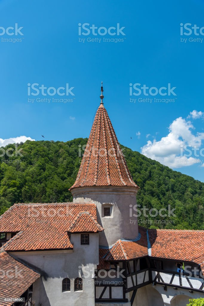 Towers of the Bran Castle captured in broad daylight