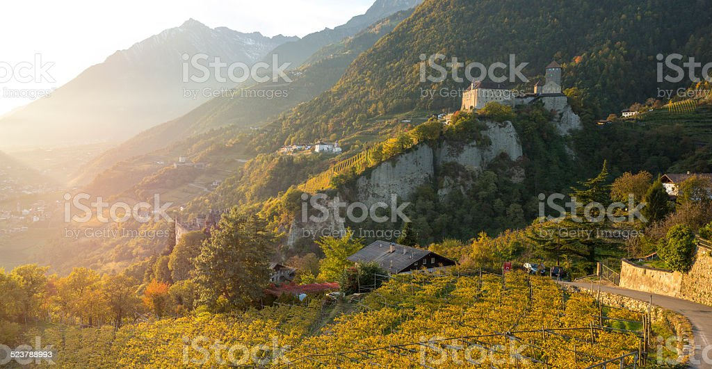 Castle Tyrol above the city of Merano (Italy) at sunset. stock photo
