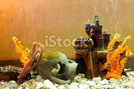 istock Castle under water. Beautiful aquarium with amphora 511319048