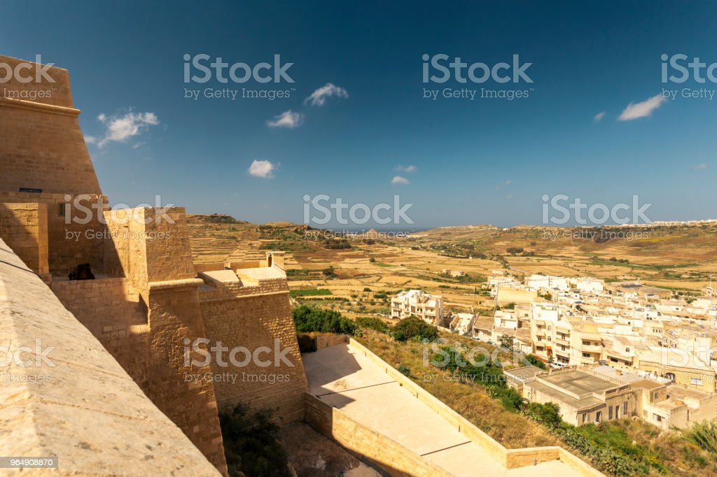 Castle wall of the medieval Citadel in Victoria, island of Gozo, Malta royalty-free stock photo