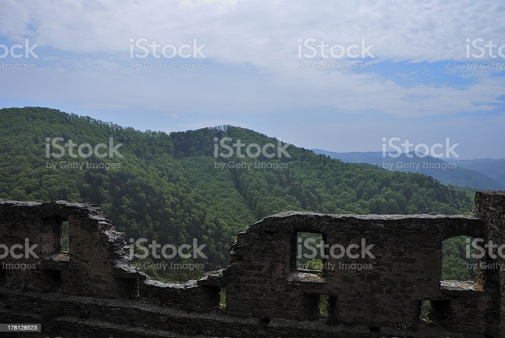 castle wall with mountain royalty-free stock photo