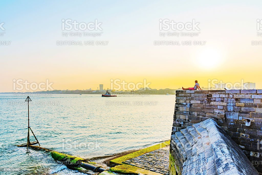 Castle with Portsmouth Seafront stock photo
