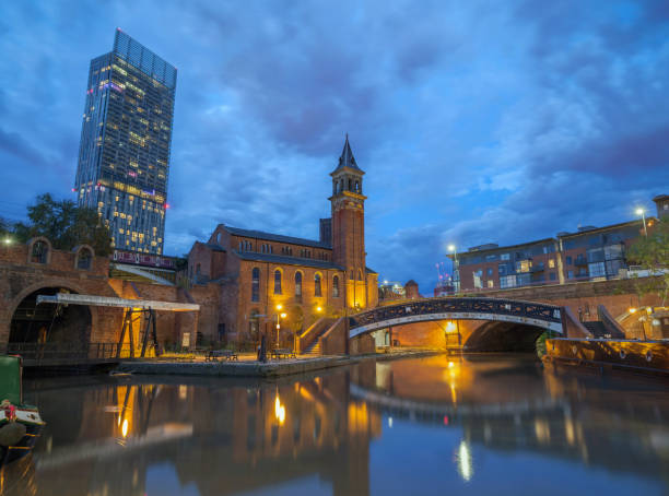 Castlefield Blue hour in Manchester, Great Britain. stock photo