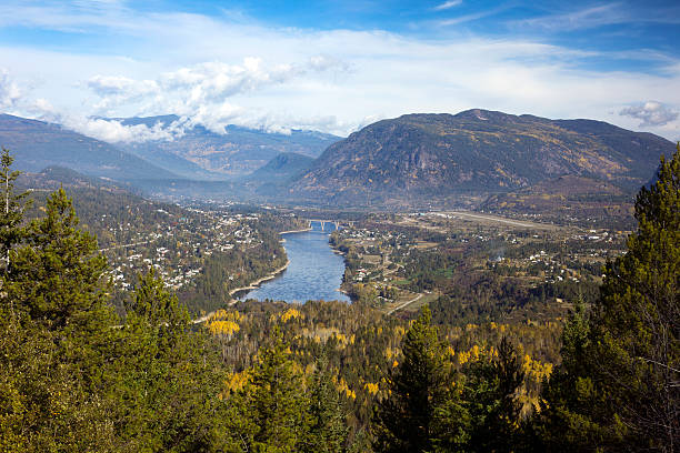 Castlegar and Columbia River, British Columbia, Canada stock photo