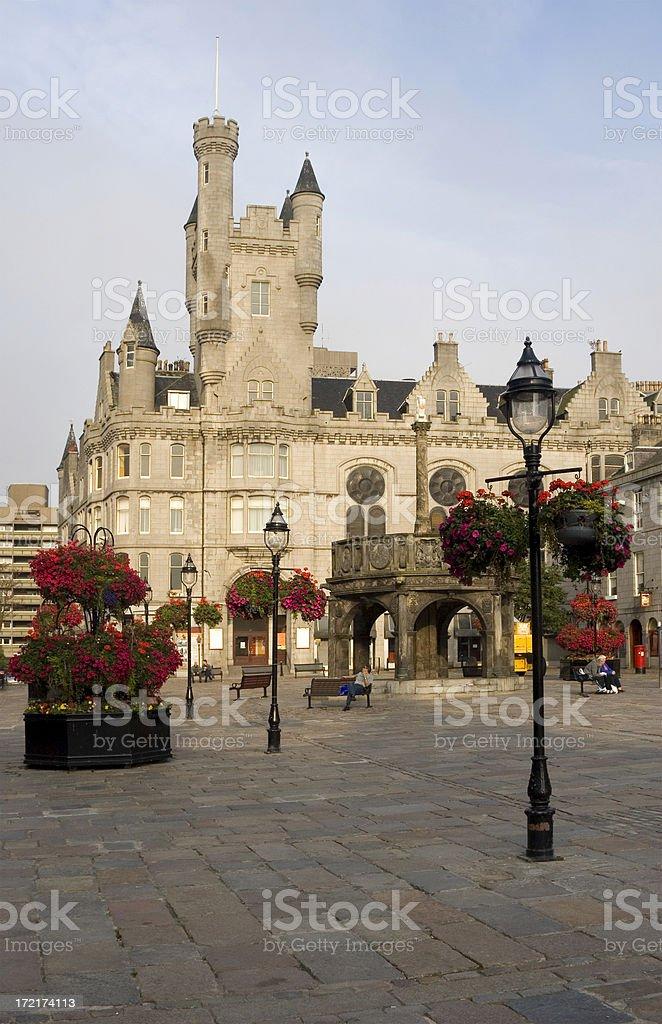 Castlegate and Mercat Cross, Aberdeen, Scotland. stock photo