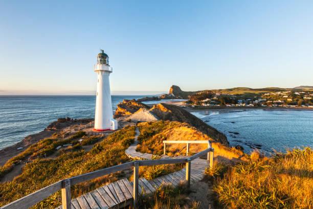 Castlepoint Lighthouse, Wairarapa, New Zealand stock photo