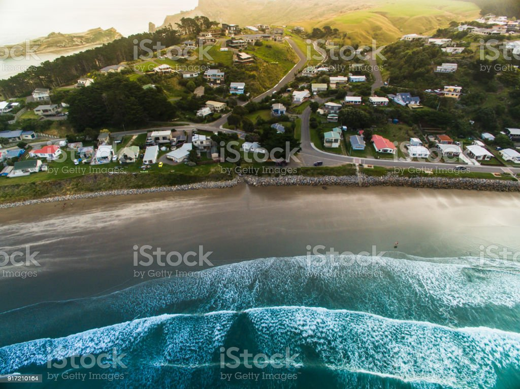 Castlepoint Village Aerial View. stock photo