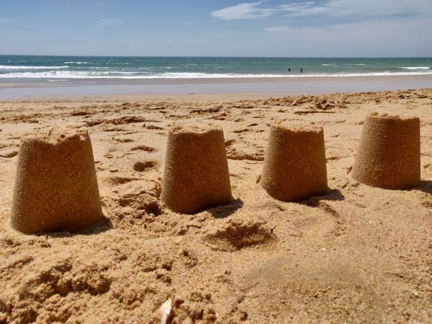 Castles in the sand. stock photo