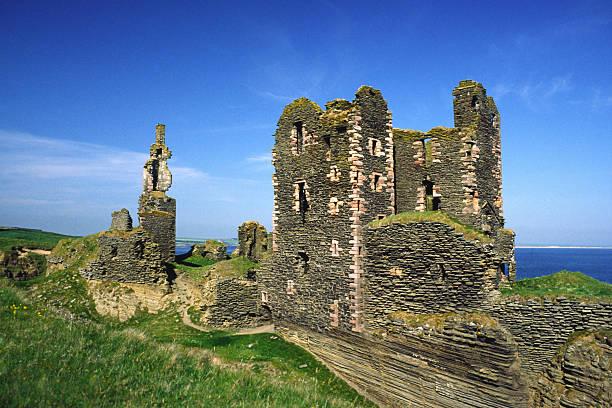 Castles Sinclair and Girnigoe stock photo