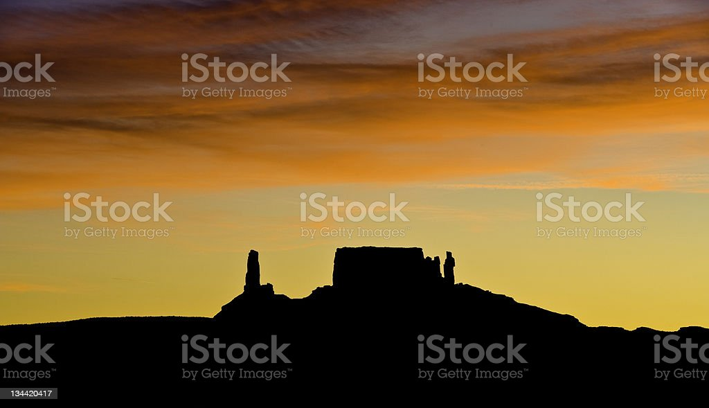 Castleton Tower and Rectory Panoramic Silhouette Castle Valley Moab Utah stock photo