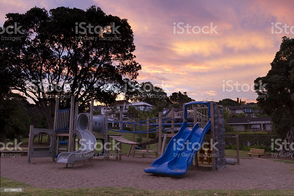 Castor Bay Beach and Playground stock photo