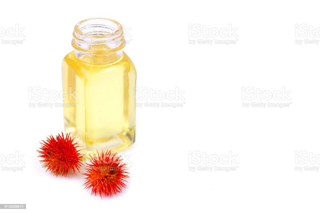 Castor oil in glass bottle stock photo