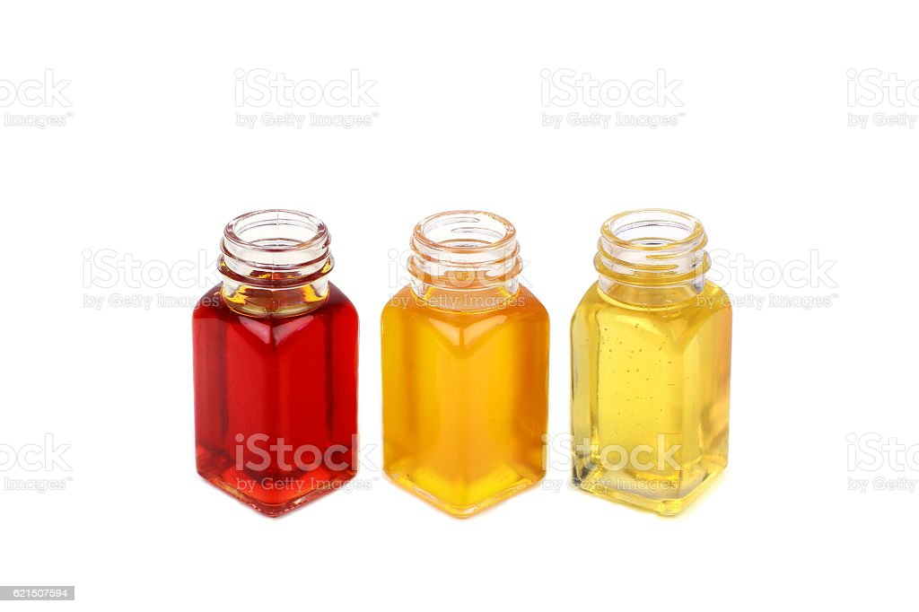 Castor oil, rosehip oil and mustard oil on white background Lizenzfreies stock-foto