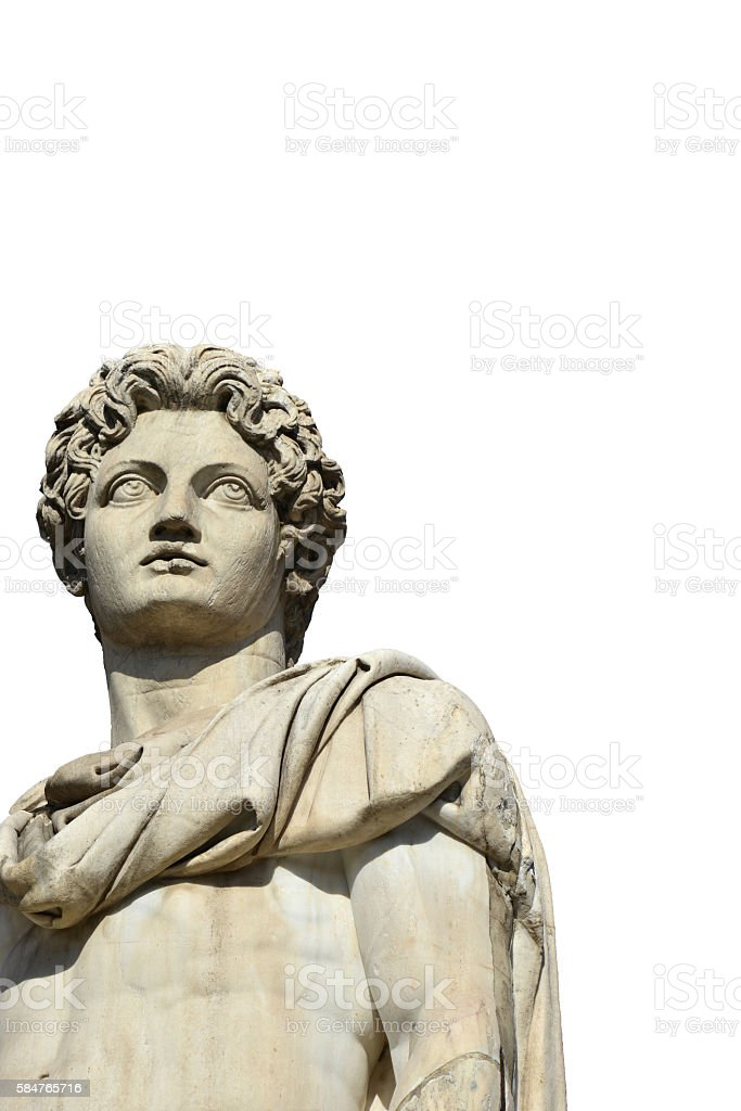 Castor or Pollux with copy space and white background stock photo