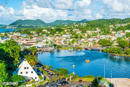 Beautiful landscape of Castries, capital and cruise port of St Lucia in the Caribbean.