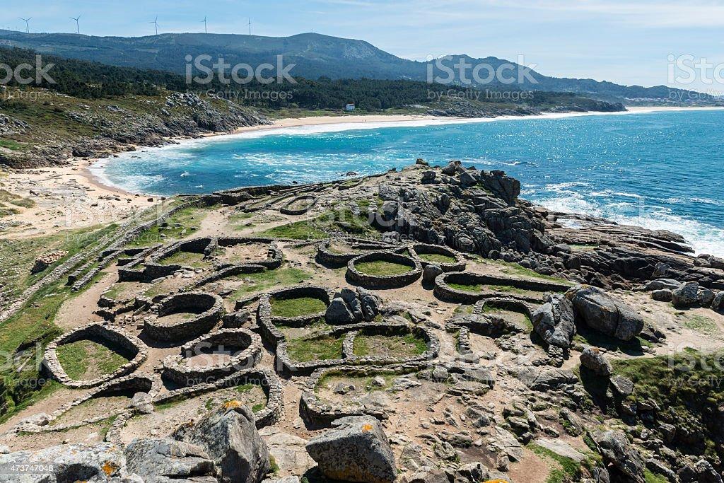 Castro de Baroña and Atlantic Ocean in Galicia stock photo
