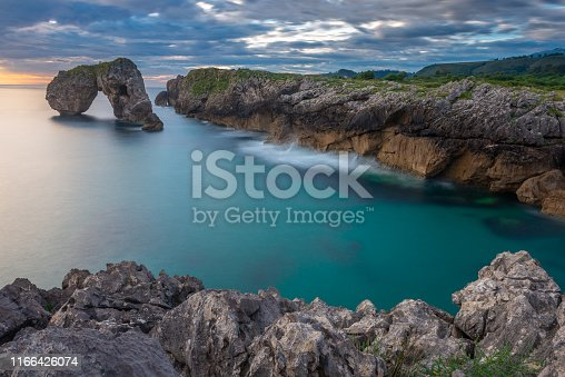 Castro de las Gaviotas rock at sunrise, Asturias, Spain
