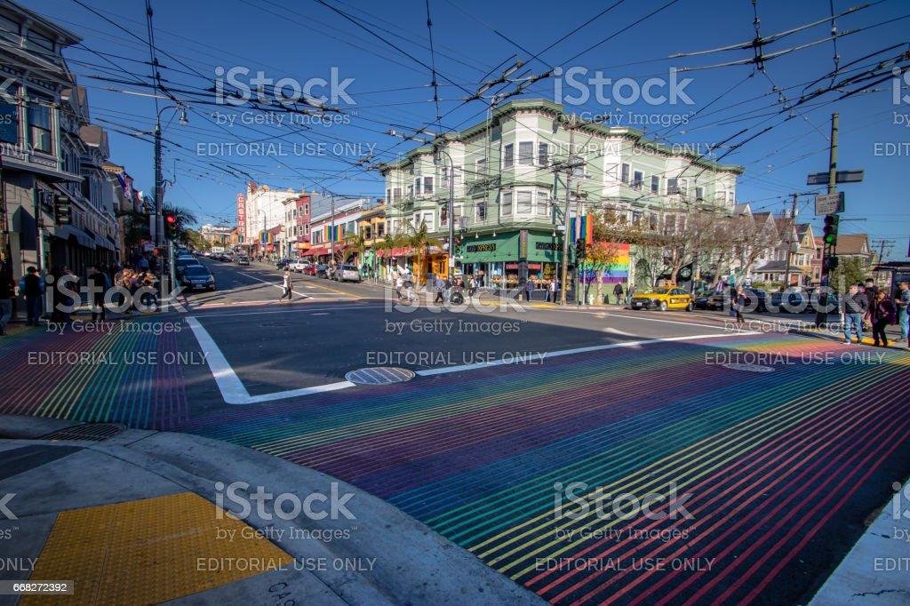 Castro District Rainbow Crosswalk Intersection - San Francisco, California, USA stock photo