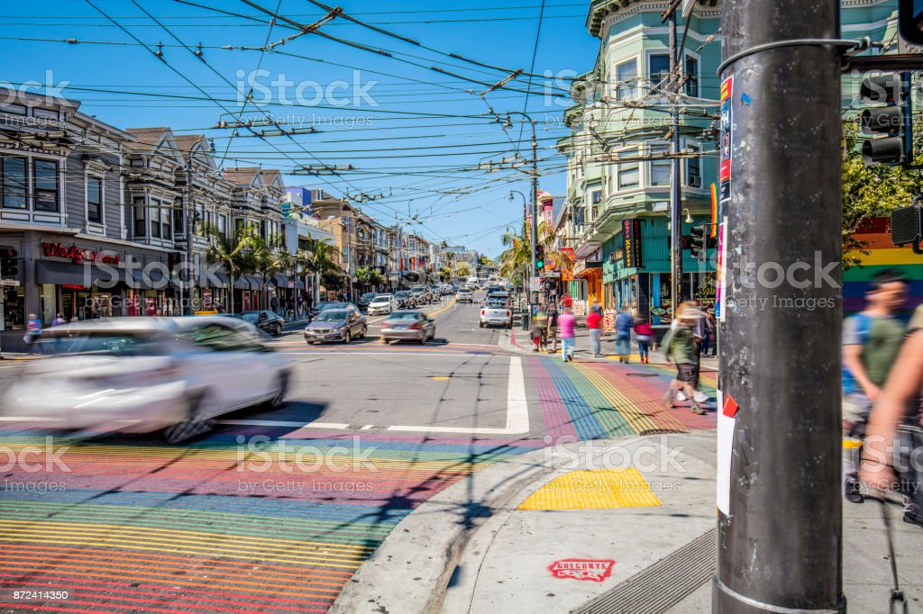 Castro District Rainbow Crosswalk Intersection - San Francisco, California, USA Castro District Rainbow Crosswalk Intersection - San Francisco, California, USA Art Stock Photo