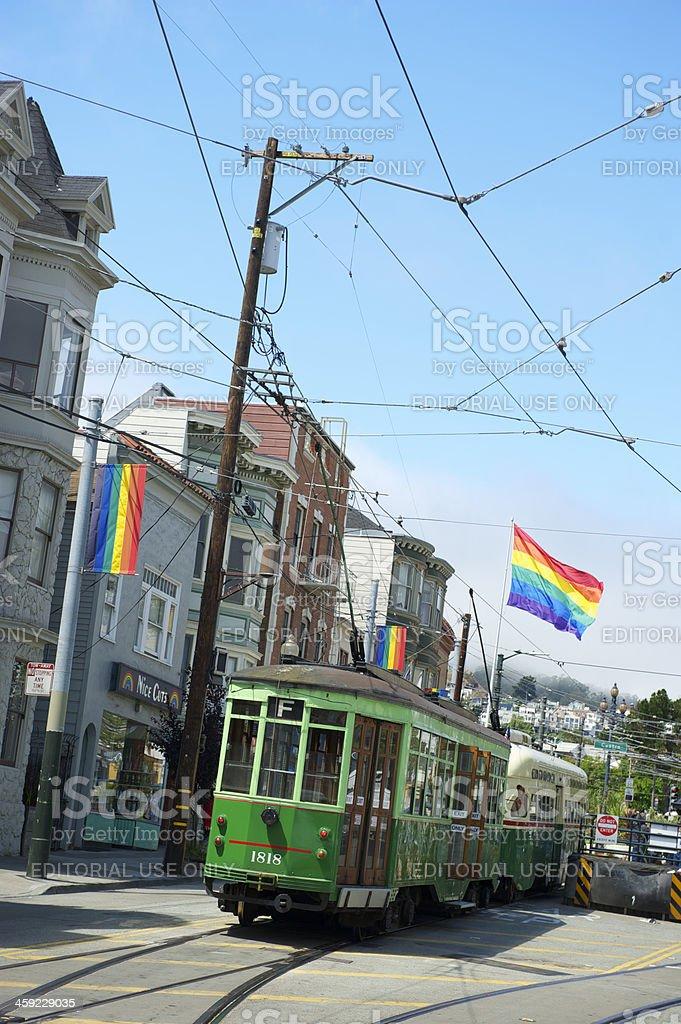 Castro Streetcar with Rainbow Flags San Francisco stock photo