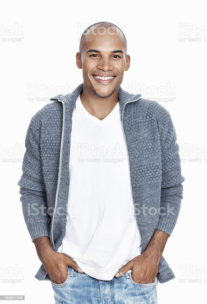 Casual African American man smiling royalty-free stock photo