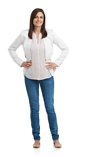 Casual and carefree Full length studio portrait of an attractive mature woman standing with arms akimbohttp://195.154.178.81/DATA/istock_collage/a3/shoots/785161.jpg akimbo stock pictures, royalty-free photos & images