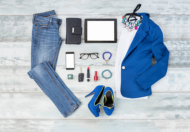 Casual and stylish choathing setup for women Casual and stylish choathing setup for women blazer jacket stock pictures, royalty-free photos & images