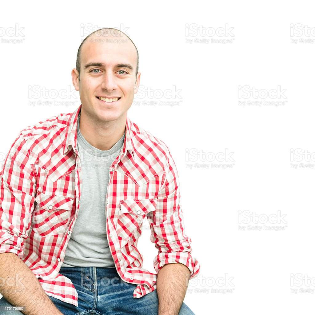 Casual bald man on white royalty-free stock photo