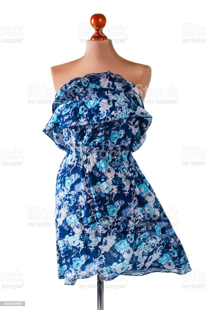 Casual blue floral dress. stock photo