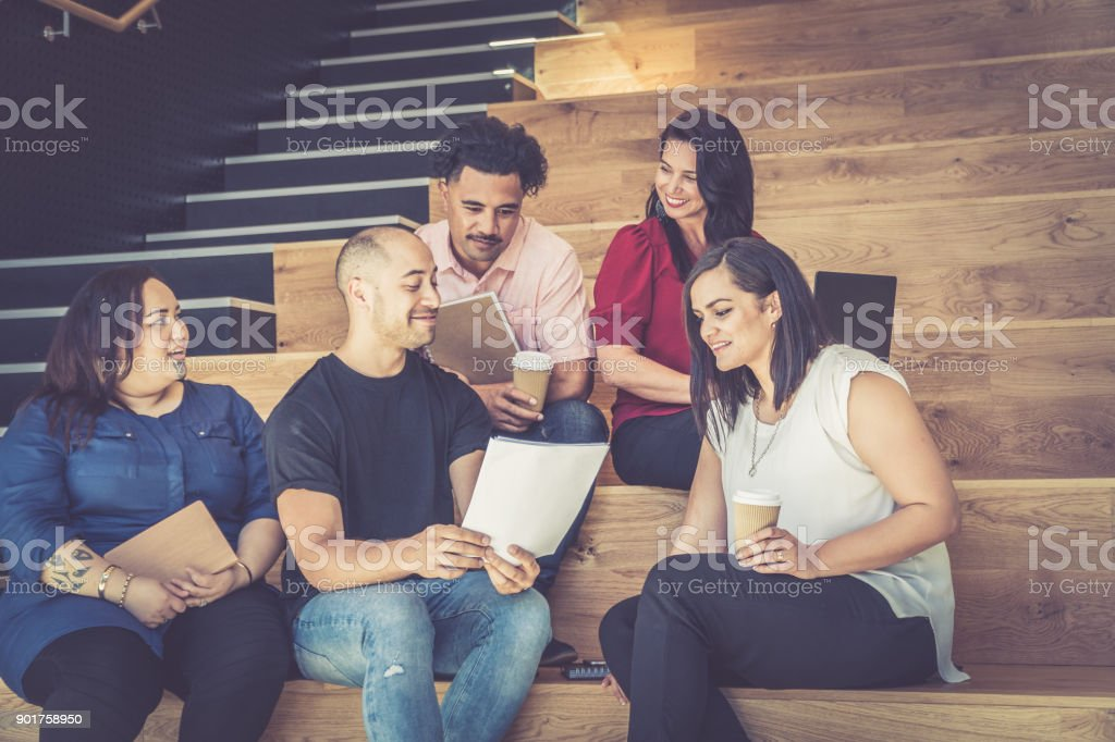 Casual Business Meeting on Stairs royalty-free stock photo