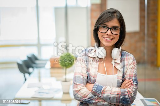 istock Casual business woman at the office 522303294