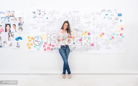 istock Casual business woman using a tablet computer 477439500