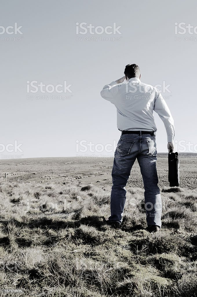 Casual businessman in field, looking for something royalty-free stock photo