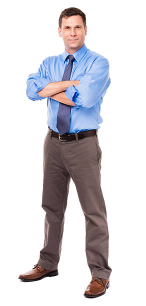Casual Businessman with Arms Crossed on White stock photo